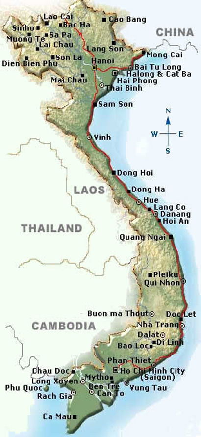 Basic map of Vietnam