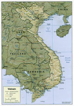 Topographical map of Vietnam